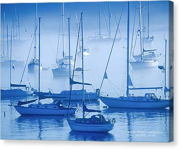 Sailboats In The Fog - Maine Canvas Print by David Perry Lawrence