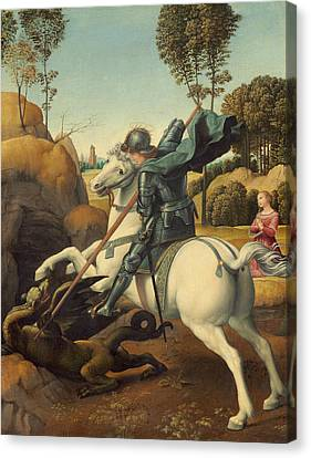 Saint George And The Dragon Canvas Print by Raphael