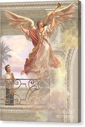 Ruiz Canvas Print - Saint Lorenzo Ruiz And Angel by John Alan  Warford