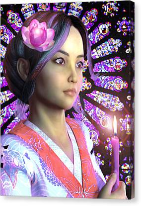 Saint Lucy Yi Zhenmei Of China Canvas Print by Suzanne Silvir