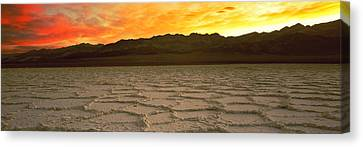 Salt Flat At Sunset, Death Valley Canvas Print