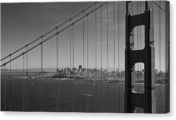 San Francisco Through Golden Gate Bridge Canvas Print by Twenty Two North Photography