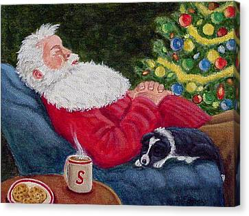 Santa And Breagh Canvas Print by Fran Brooks