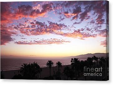 Santa Monica Sunset Canvas Print by John Rizzuto