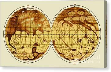 Schiaparelli Map, Canali Of Mars, 1898 Canvas Print