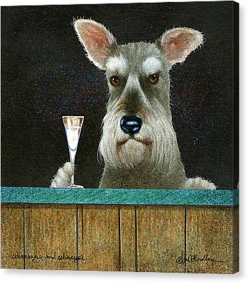 Schnauzers And Schnapps... Canvas Print by Will Bullas