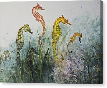 Gyotaku Canvas Print - Sea Horses by Nancy Gorr