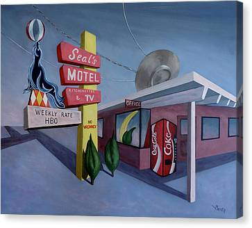 Canvas Print featuring the painting Seal's Motel by Sally Banfill