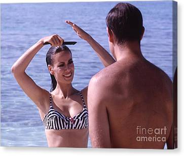 Performers Canvas Print - Sean Connery And Claudine Auger During Filming Of Thunderball by The Harrington Collection