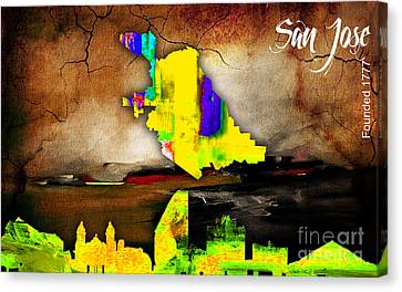 Seattle Skyline Canvas Print - Seattle Map And Skyline Watercolor by Marvin Blaine