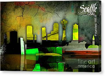 Seattle Skyline Canvas Print - Seattle Skyline Watercolor by Marvin Blaine