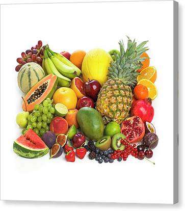 Selection Of Fresh Fruit And Vegetables Canvas Print by Science Photo Library