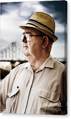 Senior Man Looking To Future Canvas Print by Jorgo Photography - Wall Art Gallery