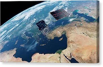 Sentinel-3 Satellite In Orbit Canvas Print by Atg Medialab/esa