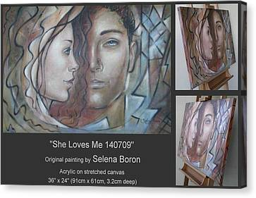 Canvas Print featuring the painting She Loves Me 140709 by Selena Boron