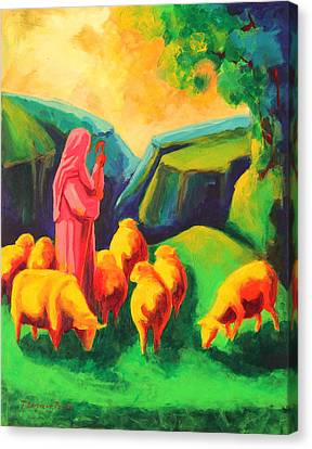 Sheep And Shepherd Painting Bertram Poole Canvas Print