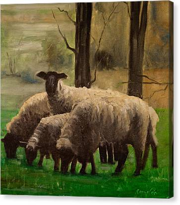 Canvas Print featuring the painting Sheep Family by John Reynolds