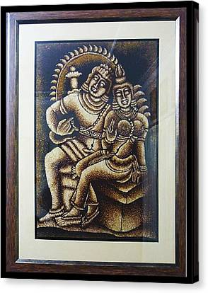 Shiva And Parvathy Canvas Print by Sivaanan Balachandran