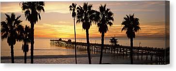 Silhouette Of A Pier, San Clemente Canvas Print