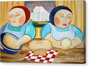 Sisters Baking Canvas Print by Teresa Hutto