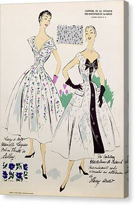 Vintage Fashion Sketches And Fabric Swatches Canvas Print