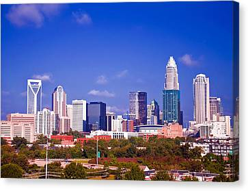 Skyline Of Uptown Charlotte North Carolina At Night Canvas Print by Alex Grichenko