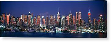 Skylines At Dusk, Manhattan, New York Canvas Print by Panoramic Images