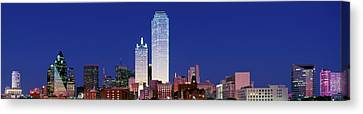 Skyscrapers In A City At Dusk, Dallas Canvas Print by Panoramic Images