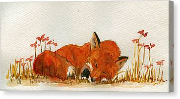 Sleeping Red Fox Canvas Print by Juan  Bosco