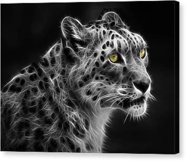 Canvas Print featuring the digital art Snow Leopard by Nina Bradica