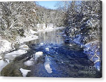 Snow On Gauley River Canvas Print by Thomas R Fletcher