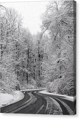 Snow On The Trees Canvas Print by Tracy Winter