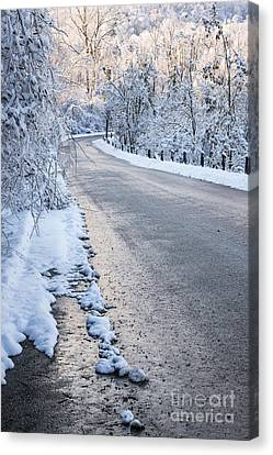 Snow On Winter Road Canvas Print