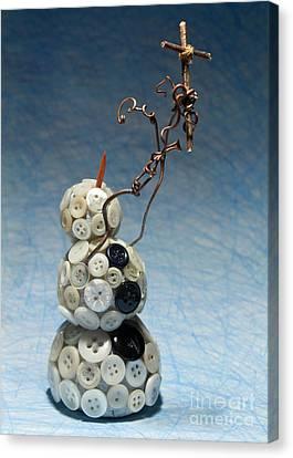Tendrils Canvas Print - Snowman Holding Christian Cross Christmas Card by Adam Long