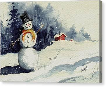 Snowman Canvas Print by Sam Sidders