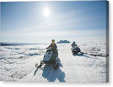 Overalls Canvas Print - Snowmobilers by Ashley Cooper