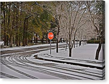 Canvas Print featuring the photograph Snowy Street by Linda Brown