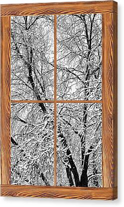 Snowy Tree Branches Barn Wood Picture Window Frame View Canvas Print by James BO  Insogna