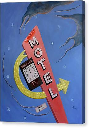 Canvas Print featuring the painting South City Motel by Sally Banfill