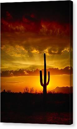 Southwestern Style Sunset  Canvas Print by Saija  Lehtonen