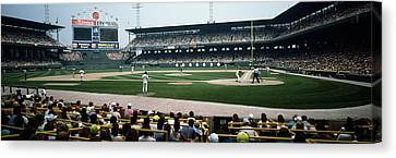 Spectators Watching A Baseball Match Canvas Print by Panoramic Images