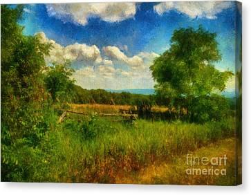 Warm Canvas Print - Split Rail Fence by Lois Bryan