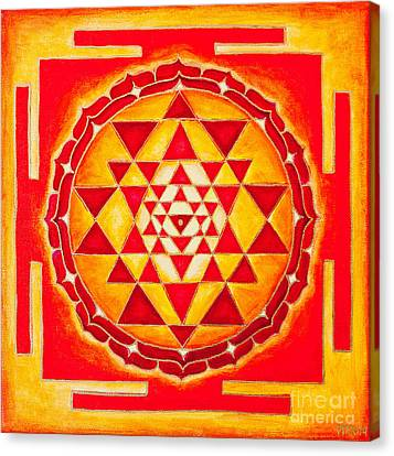 Sri Yantra For Meditation Painted Canvas Print