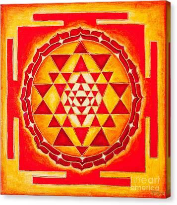 Chakra Therapy Canvas Print - Sri Yantra For Meditation Painted by Raimond Klavins