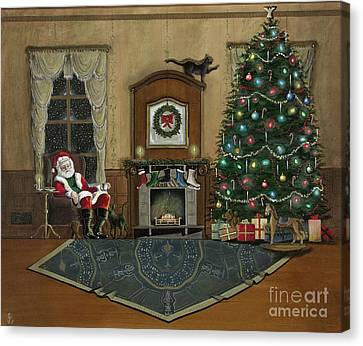 St. Nicholas Sitting In A Chair On Christmas Eve Canvas Print by John Lyes