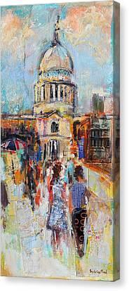 St Paul's From The Millennium Bridge Canvas Print by Sylvia Paul