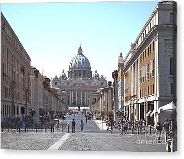 St Peter Basilica Viewed From Via Della Conciliazione. Rome Canvas Print