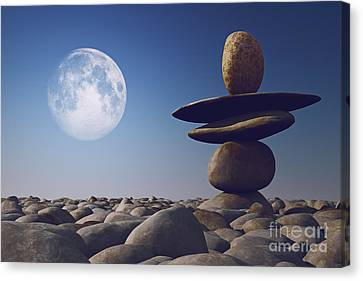 Stacked Stones In Sunlight Witt Moon Canvas Print by Aleksey Tugolukov
