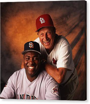 Baseball Glove Canvas Print - Stan Musial And Tony Gwynn by Retro Images Archive