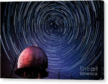 Star Trails And Radar Globe Canvas Print by Eszter Kovacs